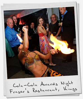 Fire show and roving at Coka-Cola Awards Night.